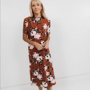 Mock neck floral midi dress